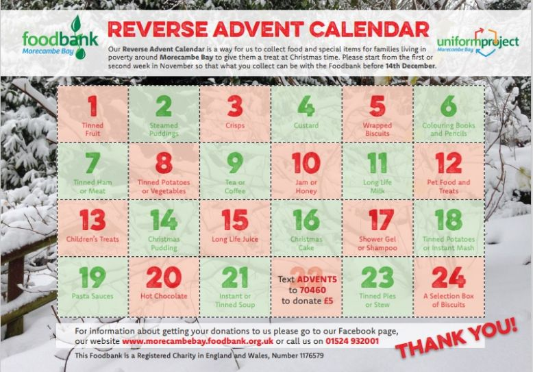 Christmas Reverse Advent Calendar now until Friday 11th December