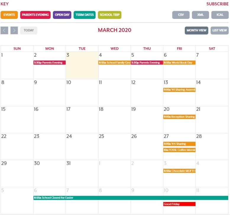 School Calendar & Communication